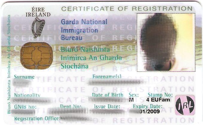 GNBI card, tarjeta de Inmigración irlandesa