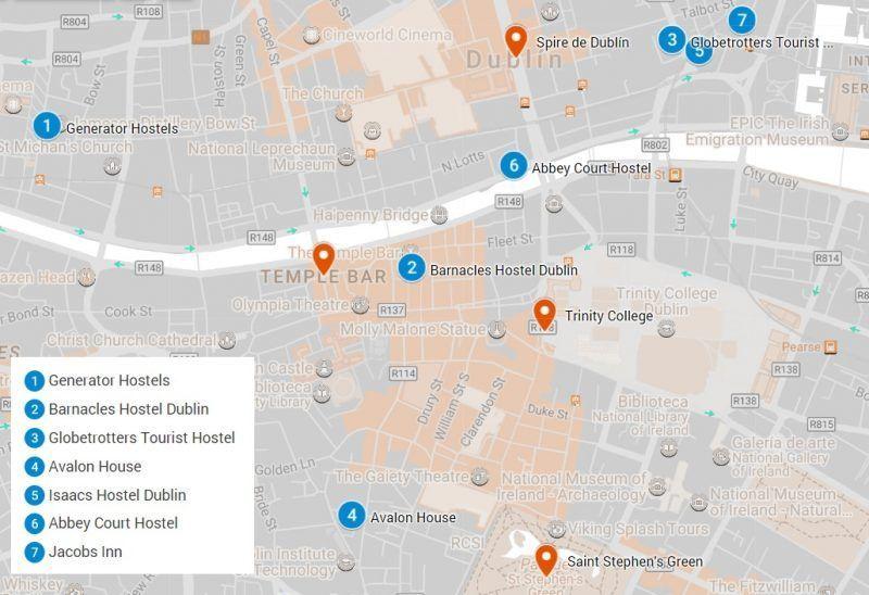Mapa con los mejores hostels de Dublin