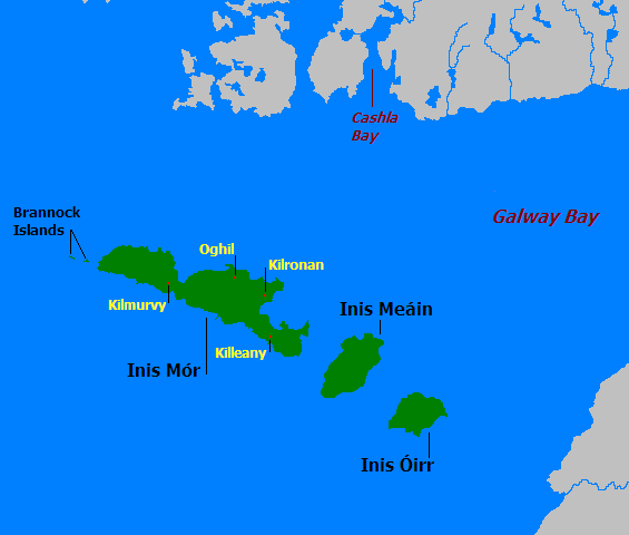 Mapa de las islas de Aran en Irlanda